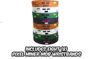 Pixel Mine Crafter-Style Scary Character Wristbands (8 Pack)- Scary Character Designs - Ghost, Enderman Monster, Zombie Monster, Jack O Lantern - 2 of Each Style