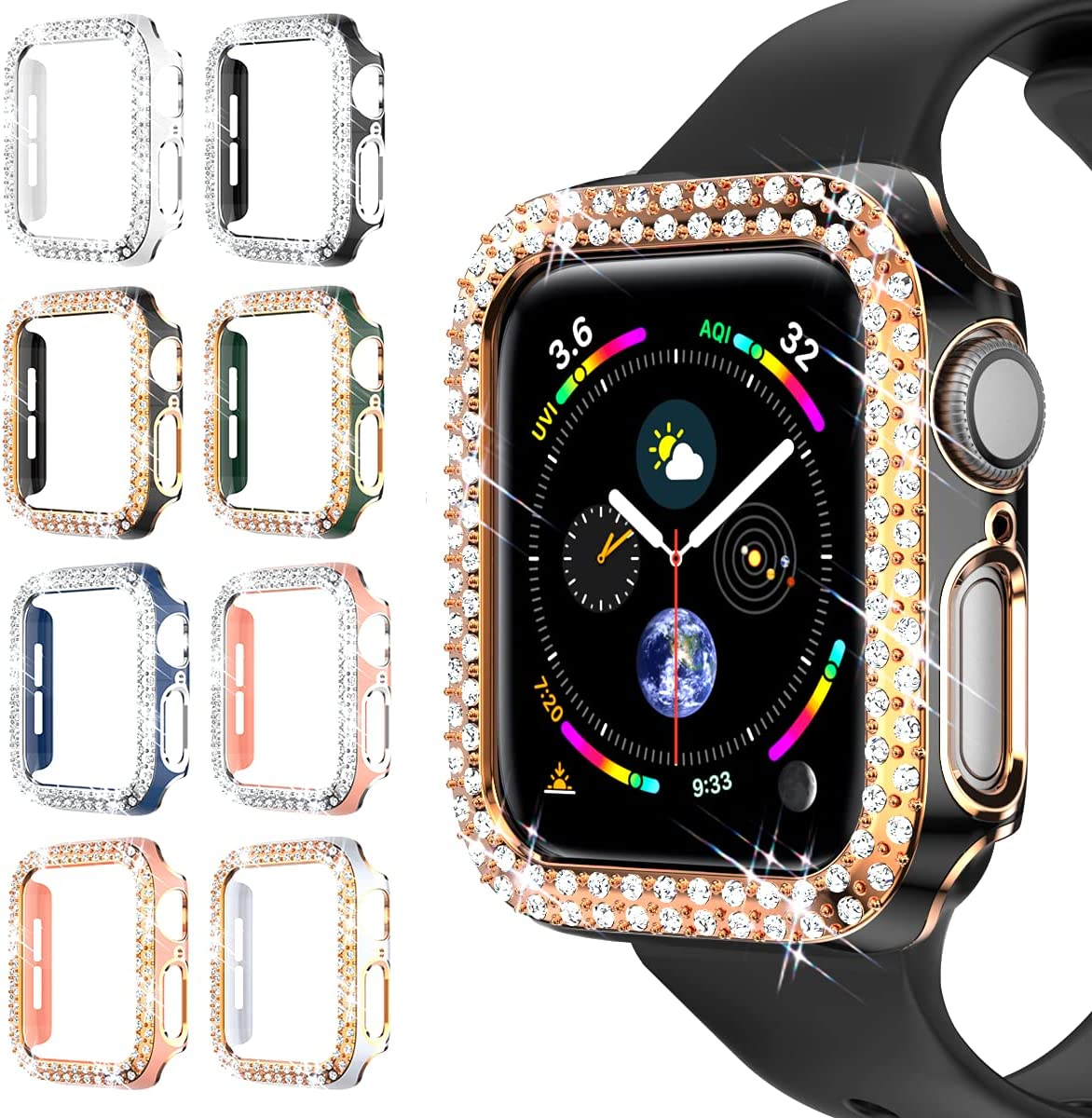 8 Pack Bling Case Compatible with Apple Watch 40mm Series SE 6/5/4, Bling Cover Double Diamonds Rhinestone Bumper Protective Frame for iWatch 40mm Series 6/5/4/SE Women Men