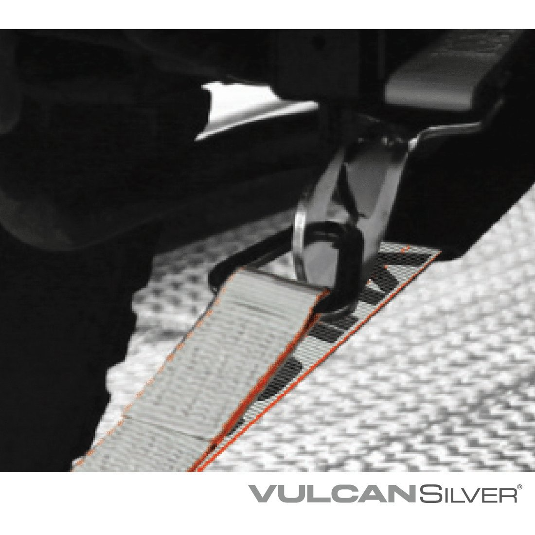 3,300 lbs 2 x 102 - Pack of 4 Safe Working Load Vulcan Brands Vulcan Silver Series 1-Ply Flexible Axle Tie Down Combo Strap w//Snap Hook Ratchet