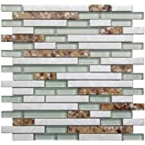 Art3d Decorative Glass Tile Geniune Shell and Conch Mosaic Tile for Kitchen Backsplashes (5 Pack)