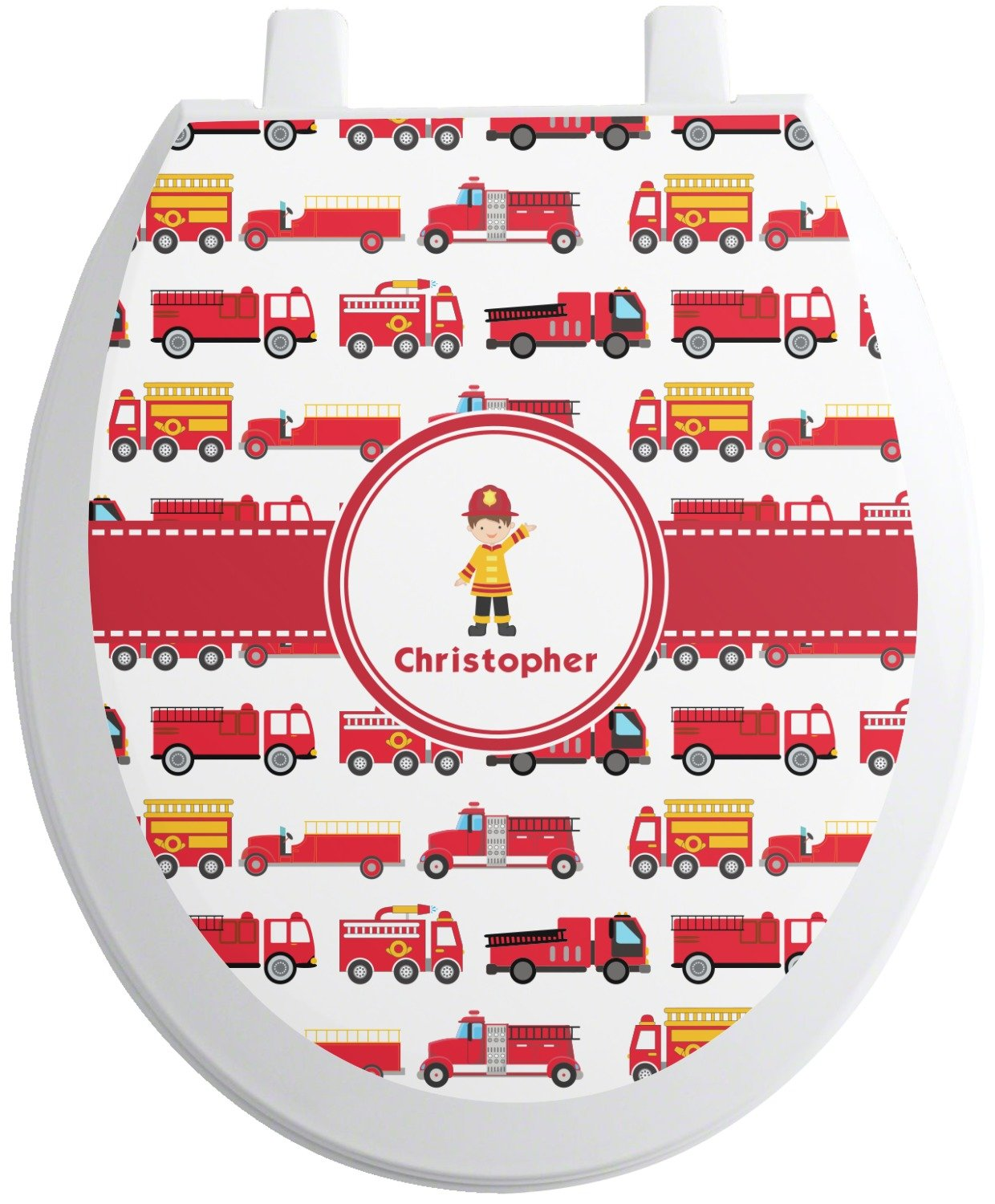 cf27a90acab ... RNK Shops Firetrucks Toilet Seat Decal - Round (Personalized) Mom  Innovations ...