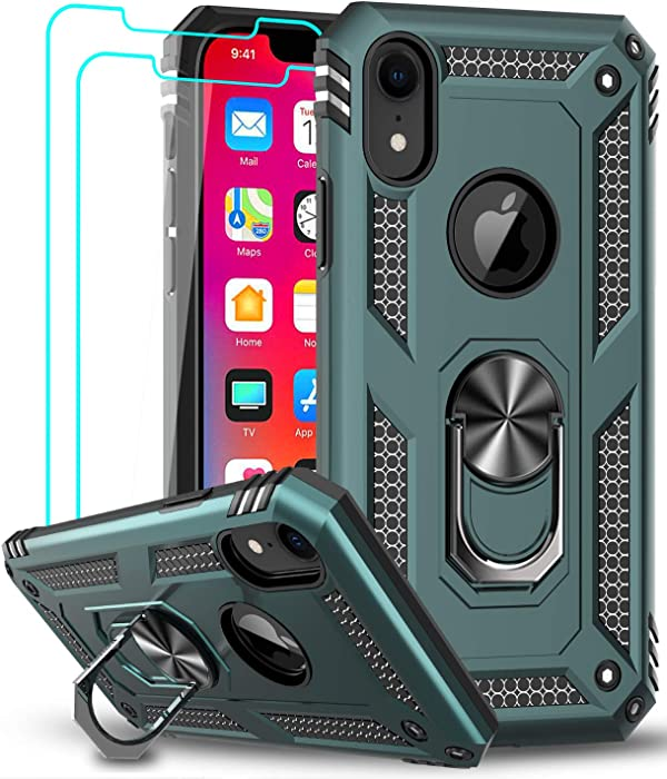 LeYi Compatible for iPhone XR Case with Tempered Glass Screen Protector [2Pack] for Women Men Teens, [Military-Grade] Phone Case with Ring Kickstand for Apple iPhone XR 10 10 XR,Midnight Green