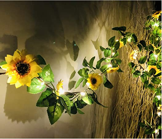 Amazon.com: MeeDoo Guirnalda de 20 luces LED de girasol ...