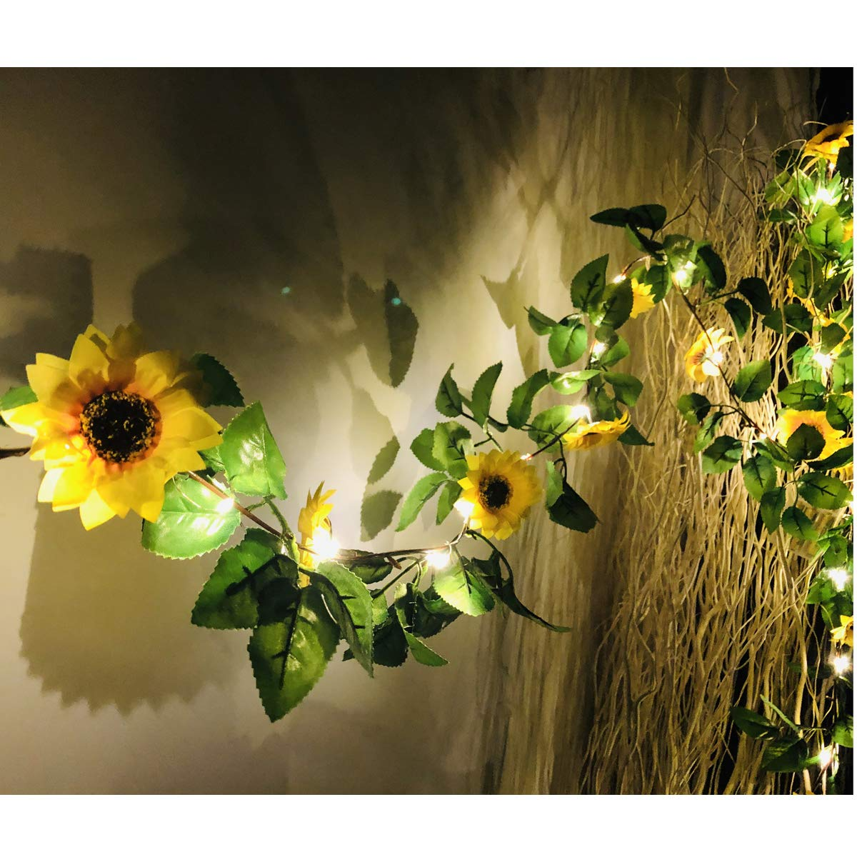 MeeDoo 20 LED Artificial Sunflower Garland String Lights, 6.56ft Silk Sunflower Vines with 9 Flower Heads Battery Operated Fairy Night Lights for Indoor Bedroom Wedding Decor Home Garden Holiday