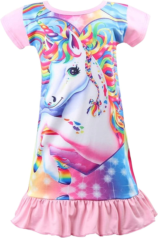 Nidoul Kid Girls Nightgown Night Dress Unicorn Rainbow Princess Pajamas Sleepwear Nightie