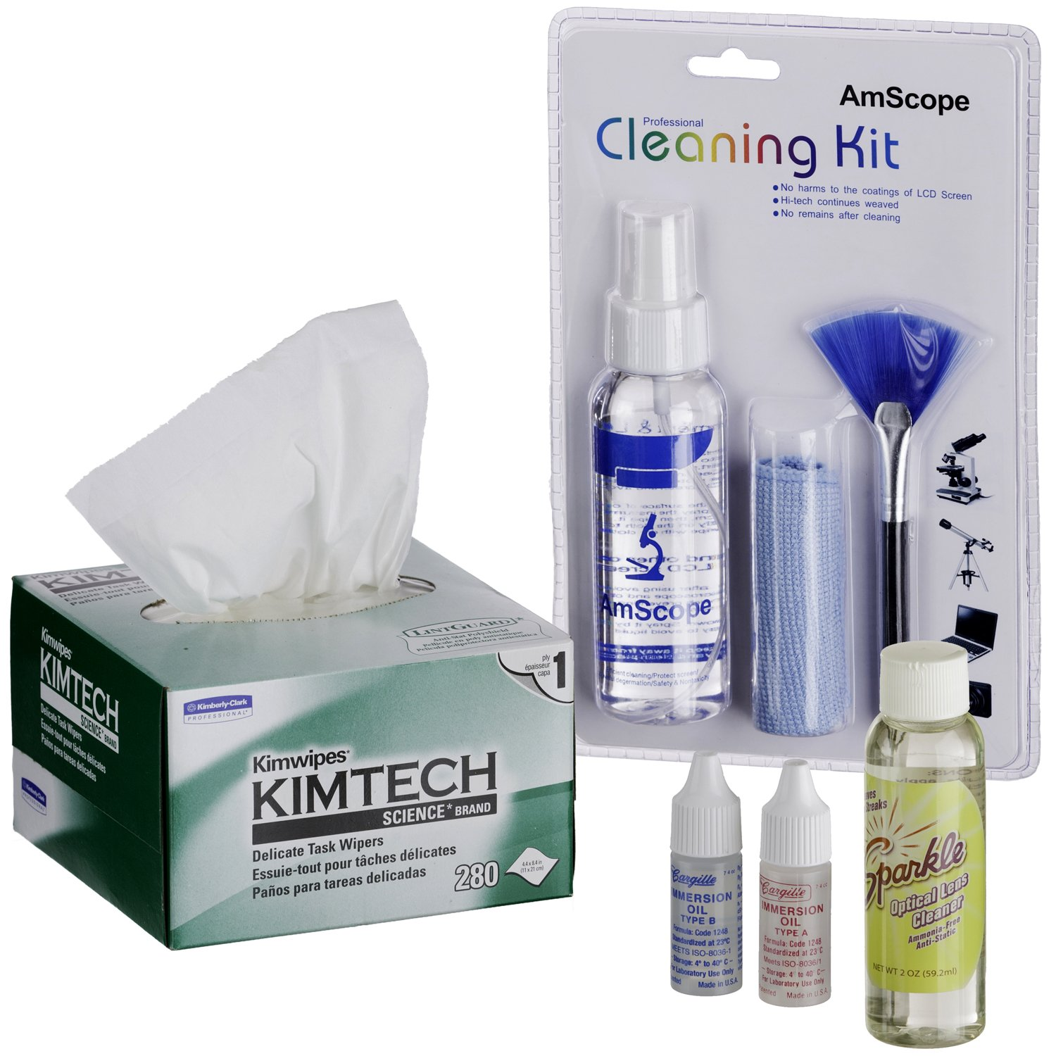 AmScope MLAB-CLS-CKI-Kim Profesional Operation and Maintenance Kit for Microscopes - Immersion Oil and Cleaning Package