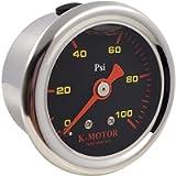 K-MOTOR PERFORMANCE Fuel Pressure Gauge Meter - 1/8 Npt Thread 100 Psi - Black