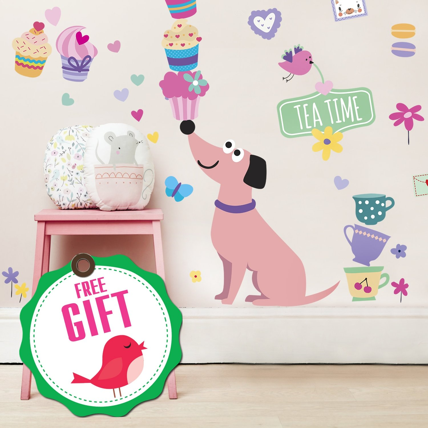 Dog Wall Decals for Girls - Cupcake Cute Pink Decor Stickers for Kids [>45 Art Baby Bedroom clings]