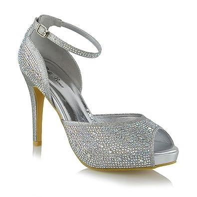 d1cdc48a12 ESSEX GLAM Women Pumps Peep Toe High Heel Platform Rhinestones Evening  Wedding Ankle Strap Shoes