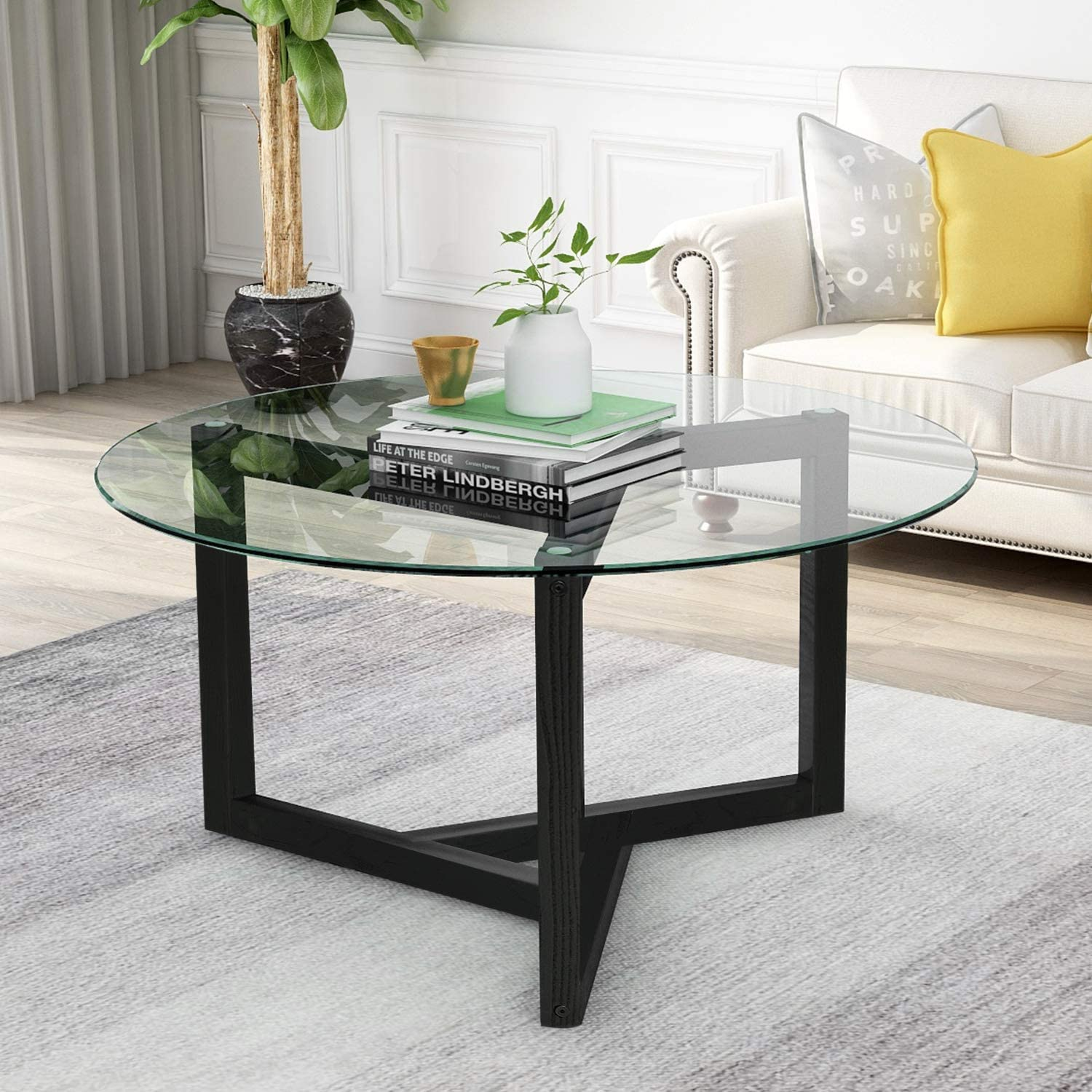 Amazon Com Modern Round Coffee Table 35 Glass Round Coffee Table Easy Assembly Tempered Glass Coffee Table With Wood Frame For Living Room Dining Room Kitchen Dining