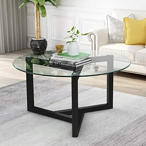 Modern Round Coffee Table, 35 Glass Round Coffee Table, Easy Assembly Tempered Glass Coffee Table with Wood Frame for Living Room, Dining Room