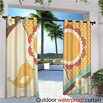 fd464c194bab Doodle Outdoor- Free Standing Outdoor Privacy Curtain Cute Little Bird with  a Giant Flower on a Dotted Background Retro Inspired Print for Front Porch  ...