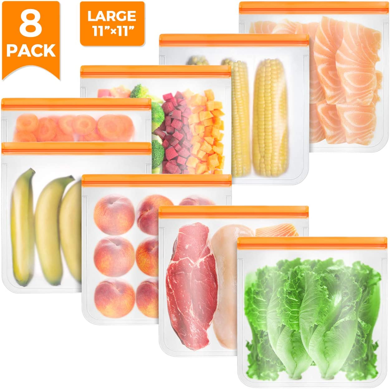 8 PACK Reusable Food Storage Bags - LARMHOI Leakproof Freezer Ziplock Bags for Marinate Meats, Vegetables, Fruit, Cereal, Sandwich, Snack, Travel Items, Meal Prep, Home Organization