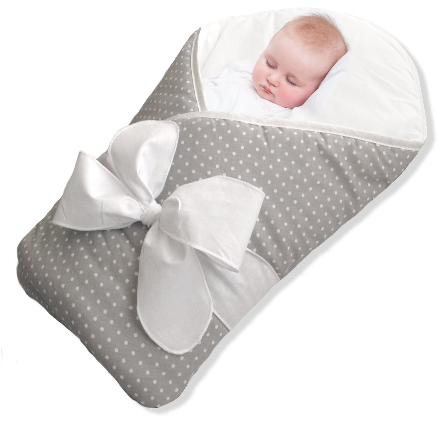BundleBee Baby Wrap/Swaddle/Blanket, Feather Light/Grey Polka Dot, 0-4 Months BBWRAPG001