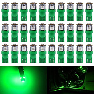 Alopee 30-Pack Green Replacement Stock #: 194 T10 168 2825 W5W 175 158 Bulb 5050 5 SMD LED Light,12V Car Interior Lighting for Map Dome Lamp Courtesy Trunk License Plate Dashboard Parking Lights: Automotive
