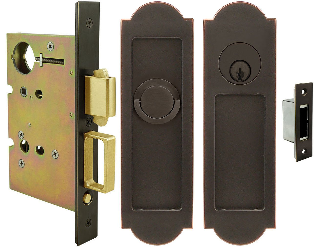 Polished Stainless Steel INOX FH31PD8450-234-TT09-32 Mortise Pocket Door Lock Entry Function with 2-3//4-Inch Backset TT08 Thumb Turn and Cylinder