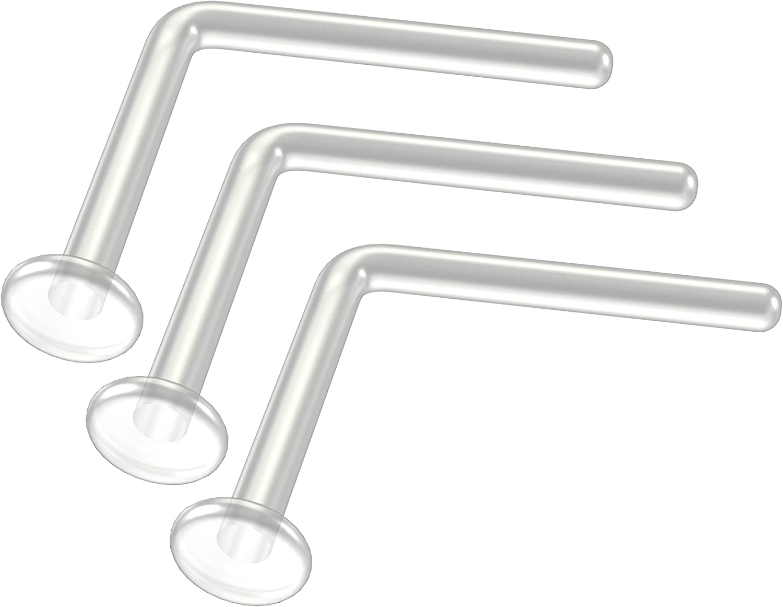3pc 20g 0 8mm L Shaped Nose Bar Ring Clear Bioflex Nostril