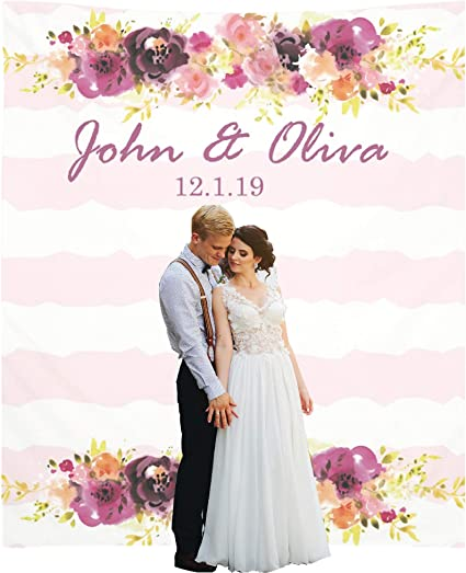 Amazon Com Personalize Wedding Backdrop Decorations Photo Booth Fabric Backdrops Personalized Bridal Shower Banner Decor Customized Sign Decoration Custom Reception And Ceremony Decor 88x104inch Violet Health Personal Care