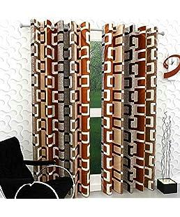 Home FURNISHINGS Faux Silk Check Box Curtains (Coffee)