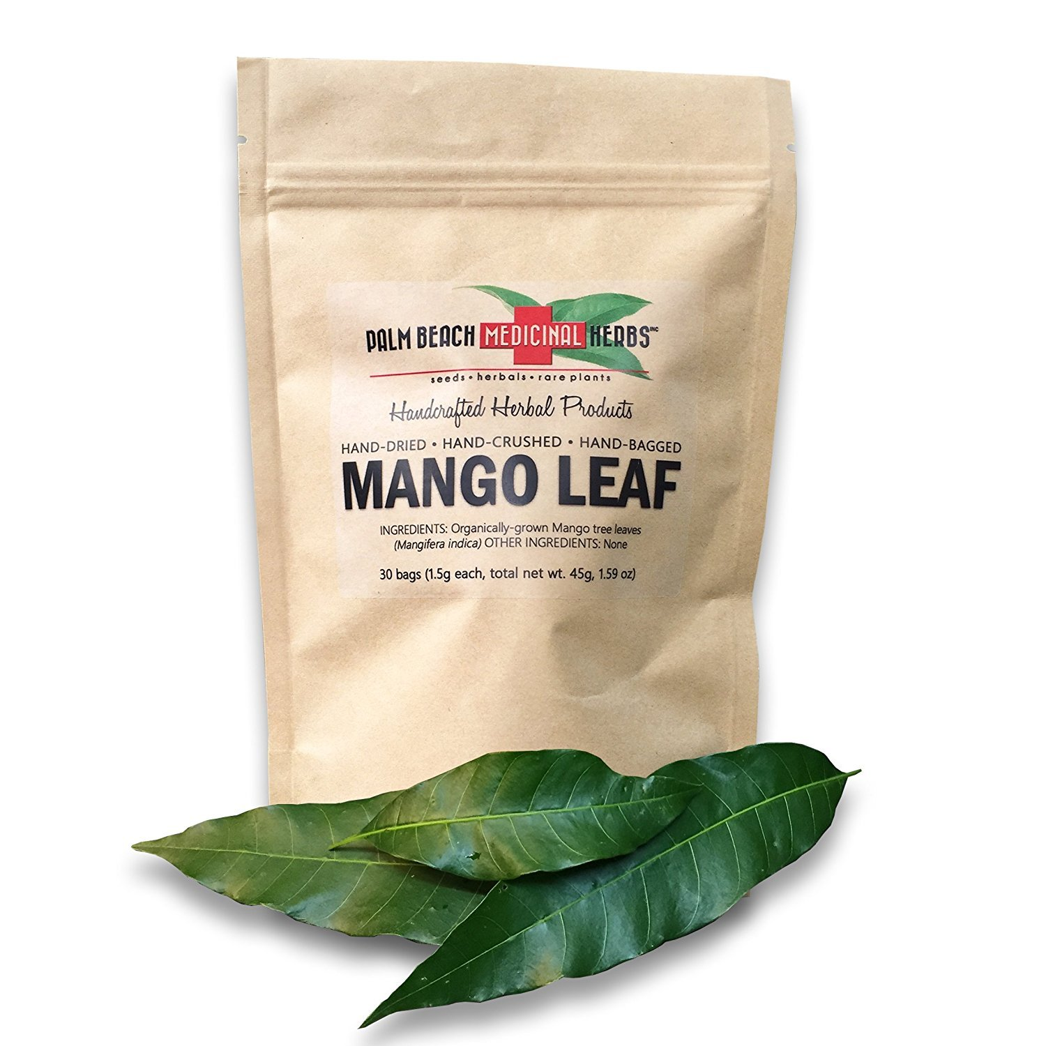 Dried Mango Leaf - 30 Individual Bags of Fresh Dried Hand-Crushed Tropical Mango Tree Leaves - Pure, No Fillers, All-Natural, Non-GMO (1.5g each bag, 45g total)