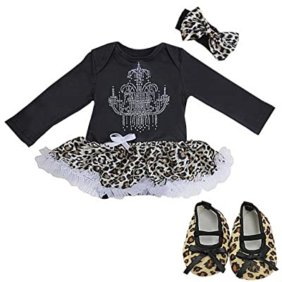 Baby Leopard Rhinestone Chandelier Bodysuit Pettiskirt Crib Shoes