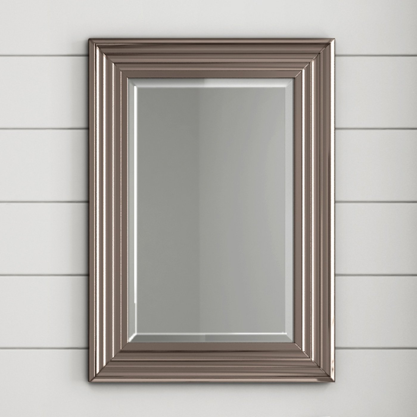 500 X 700 mm Traditional Wall Framed Bevelled Mirror Silver Bathroom Furniture ML8006 iBathUK