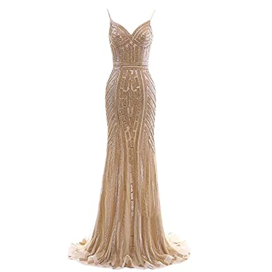 BridalAffair Luxury Spaghetti Straps Mermaid Prom Dresses Crystal Beaded Long Formal Evening Gowns