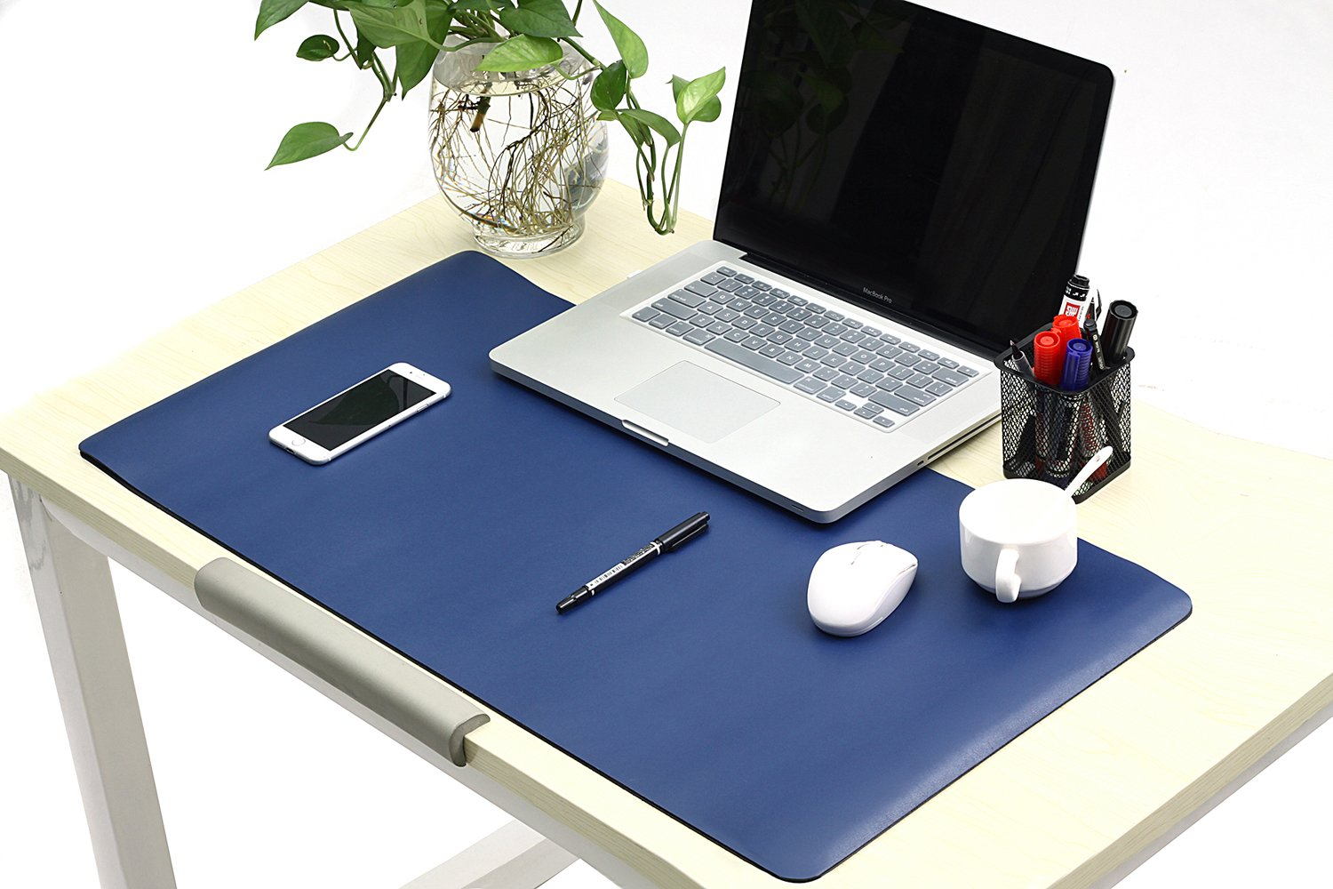 """Leather Desk Pads/Blotter Eco-Friendly Microfiber Pu Leather Desk Mat Protector for Home & Office Non Slip Laptop Keyboard Mouse Pads Extra Large 31.5"""" x 15.7"""" x 0.08"""" (Blue, Medium)"""