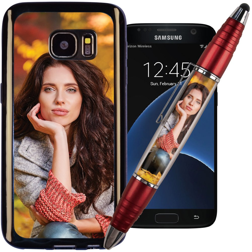 Pink PixStylus & Galaxy S7 PixCase – Make A Personalized Set – Just Insert Photos or Design Your Own Inserts Online – Combination Pen/Stylus Paired with a Shock Absorbing Case Jaymo A Division of Cottage Mills 90138