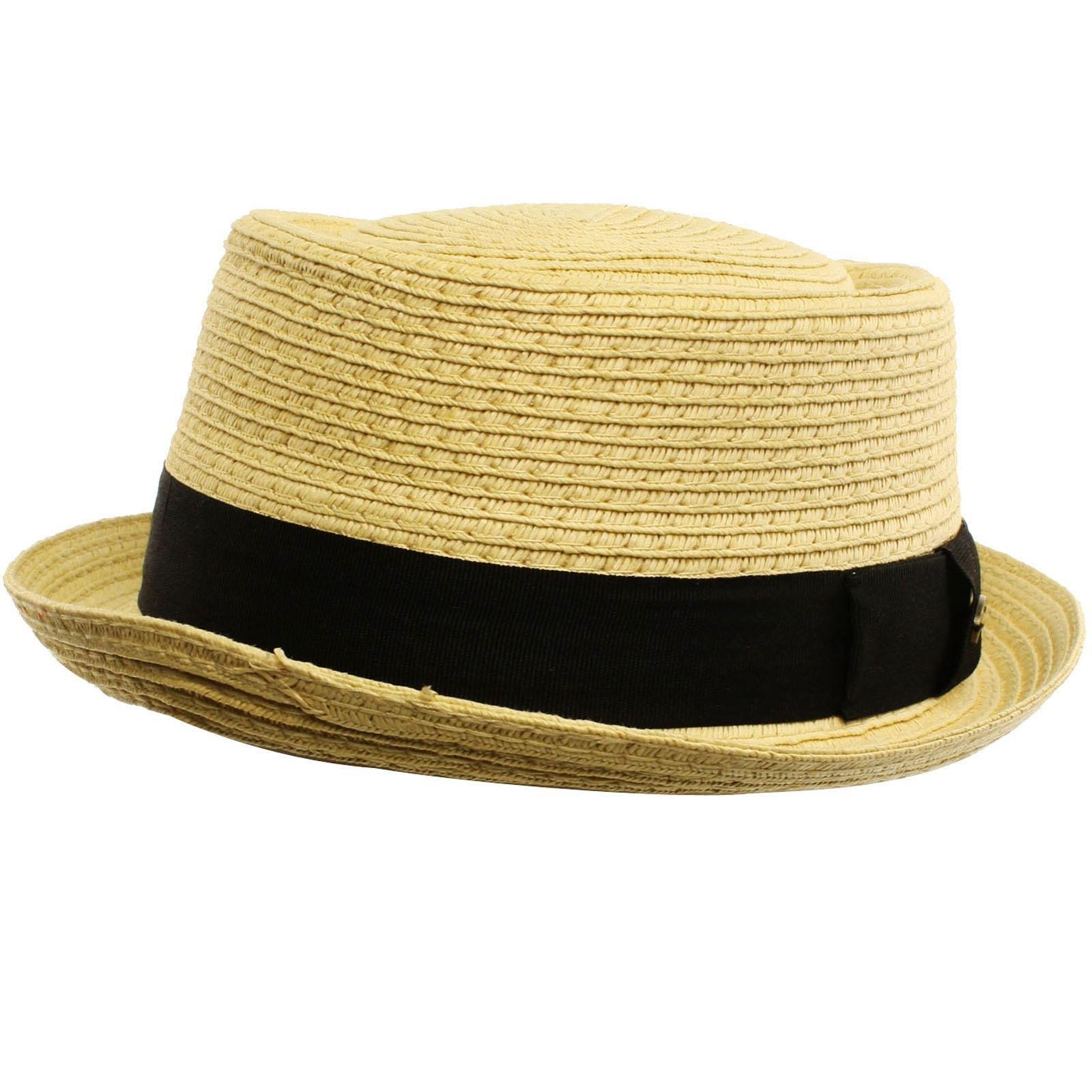 4090da101a18c Men s Cool Summer Straw Pork Pie Derby Fedora Upturn Brim Hat ...