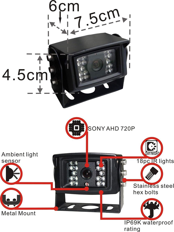 AHD 720P 7 Reverse Rear View Backup Camera System Night Vision Waterproof IP69K Vibration-Proof 10G Camera Mirror//FLIP Image for Tractor//Truck//RV//Bus//Motorhome//Excavator//Caravan//Skid Steer//Harvester