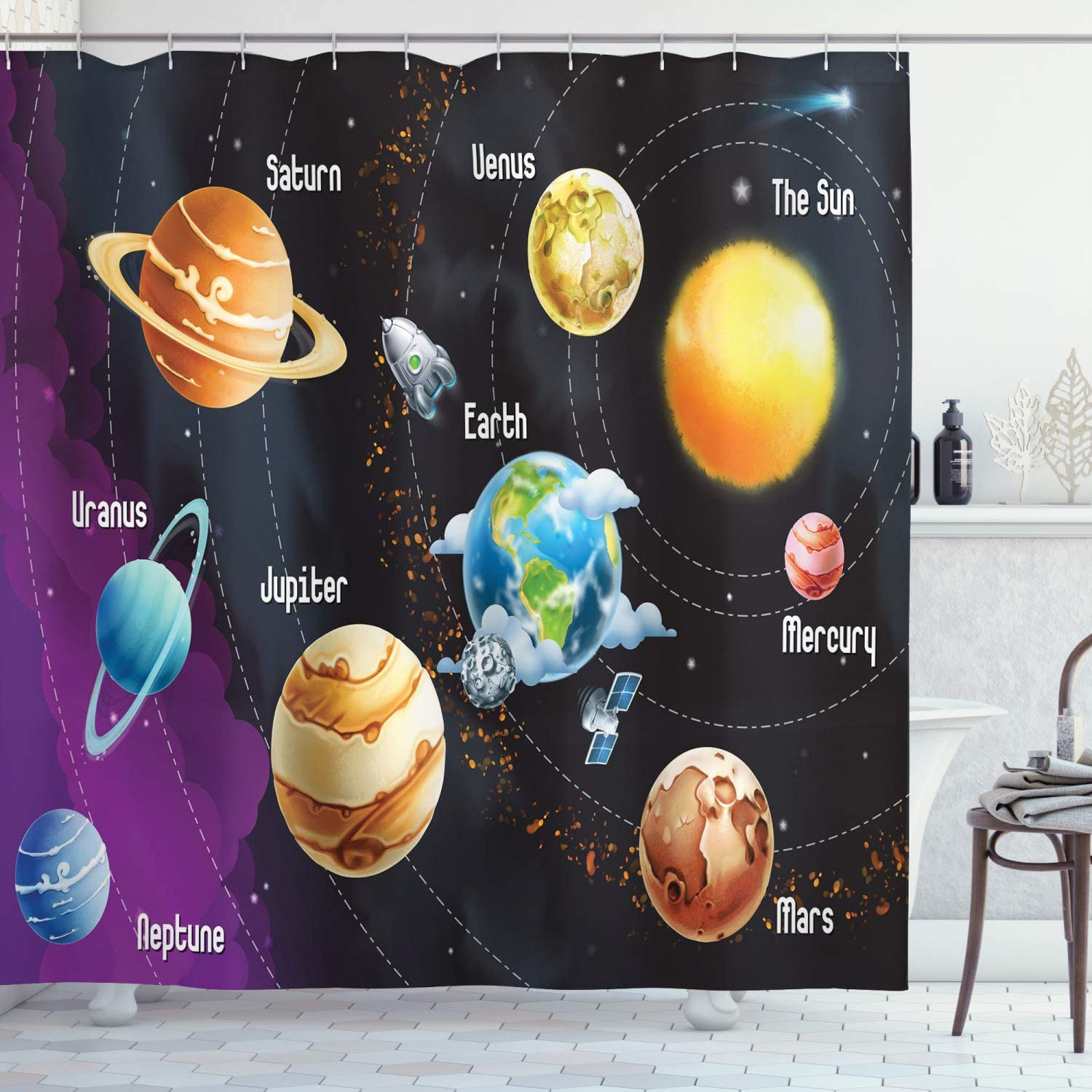 Ambesonne Outer Space Shower Curtain, Solar System of Planets Milky Way Neptune Venus Mercury Sphere Illustration, Cloth Fabric Bathroom Decor Set with Hooks, 70