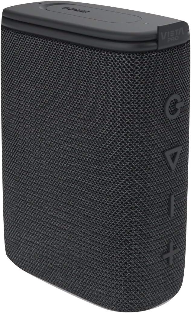 Altavoz Round Up 2 de Vieta Pro, con Bluetooth 5.0, True Wireless, Micrófono, Radio FM, 12 Horas de autonomía, Resistencia al Agua IPX7 y Entrada Auxiliar; Acabado en Color Negro