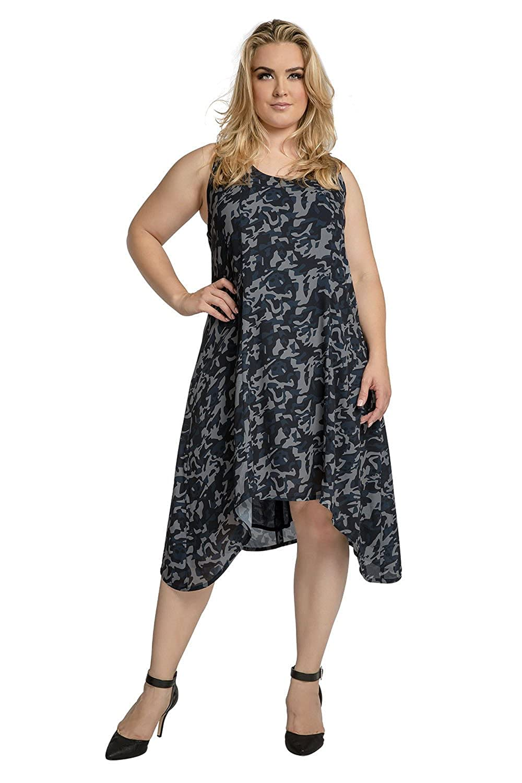 Standards & Practices Women's Plus Size Navy Chiffon Camo Zip Back Tank Dress