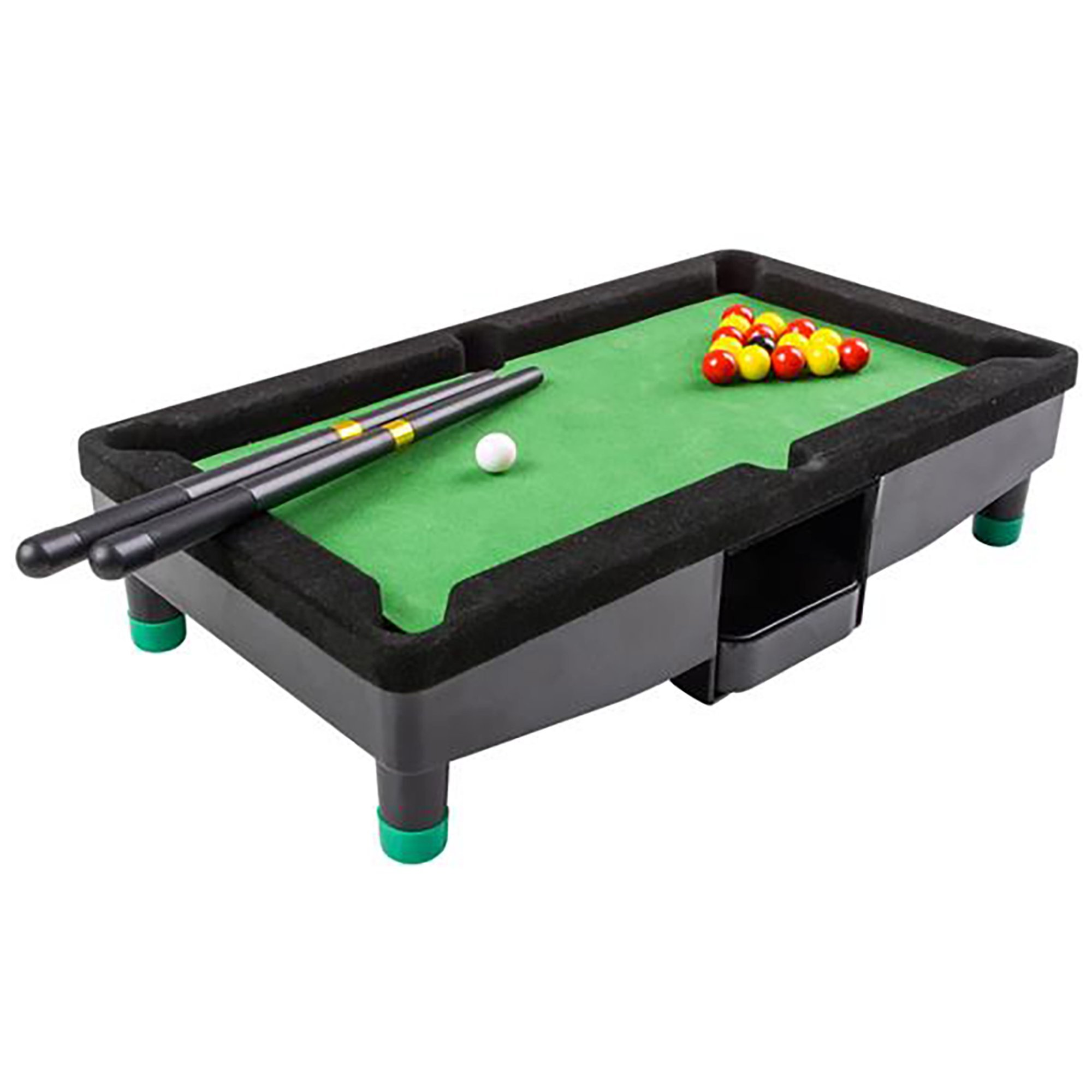 9 Inch Travel Mini Pool Table for Kids by Gamie with 2 Sticks, 16 Balls and Rack - Complete Small Pool Table Set for Children - Great Gift Idea for Boys and Girls, Unique Office Desk Decoration by Gamie