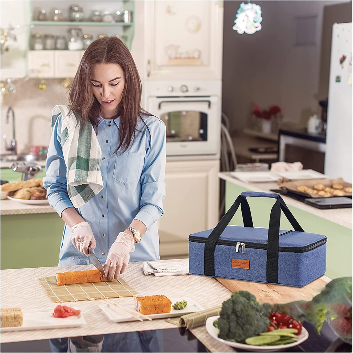 Lunch Bag for Women/Men,Beach Bag,Insulated Casserole Carrier, Container for Hot or Cold Food Transport,Tote Bag of Travel/Party/ Picnic/ Gifts,Lasagna Lugger,Fits 9