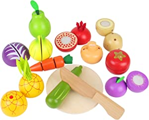 Wooden Play Food for Kids, Kitchen Cutting Toy Fruits and Vegetables Cooking Montessori Educational Game for 3 4 5 Year Olds Boys Grils