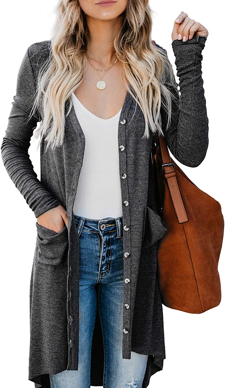 B07Y1SQ9WD Actloe Women Long Sleeve Open Front Button Long Knitted Cardigan Outwear with Pocket 71z9kMRSFPL