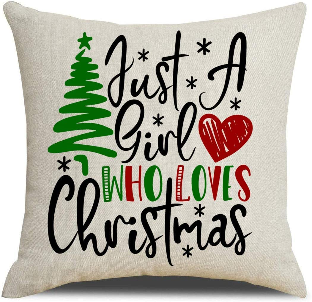 Sonernt Just A Girl Who Loves Christmas Cotton Linen Pillow Covers Christmas Tree with Red Heart Christmas Decorations Throw Pillow Cushion Covers Christmas Decor 24