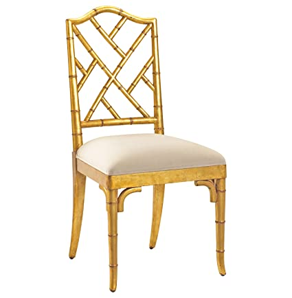 Kathy Kuo Home Chinese Chippendale Hollywood Regency Gold Bamboo Dining  Chair