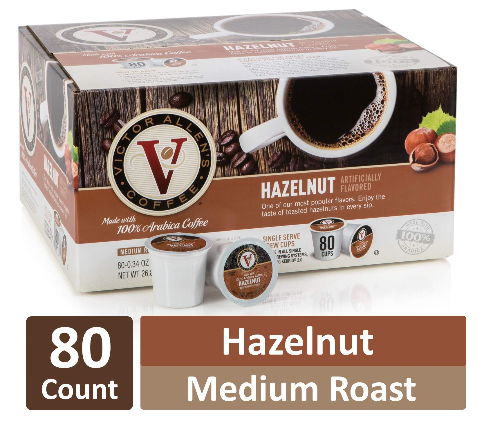 Hazelnut for K-Cup Keurig 2.0 Brewers, 80 Count, Victor Allen's Coffee Medium Roast Single Serve Coffee Pods