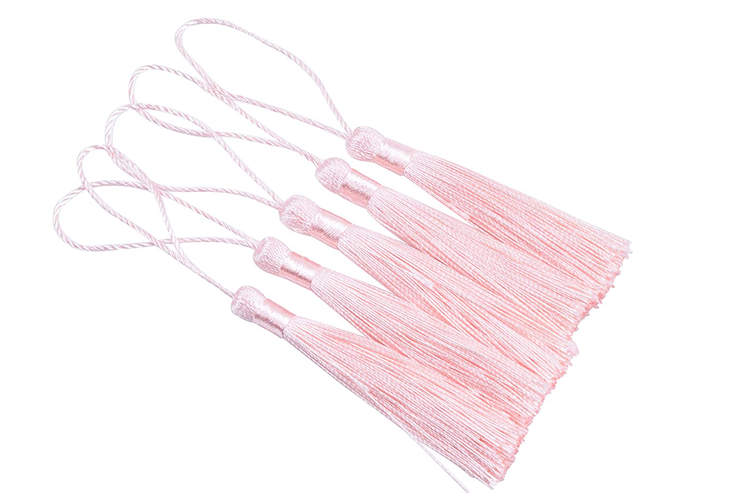 White Soft Craft Mini Tassels with Loops for Bookmarks Jewelry Making Decoration DIY Projects 3.5 KONMAY 20pcs Silky Handmade Tiny