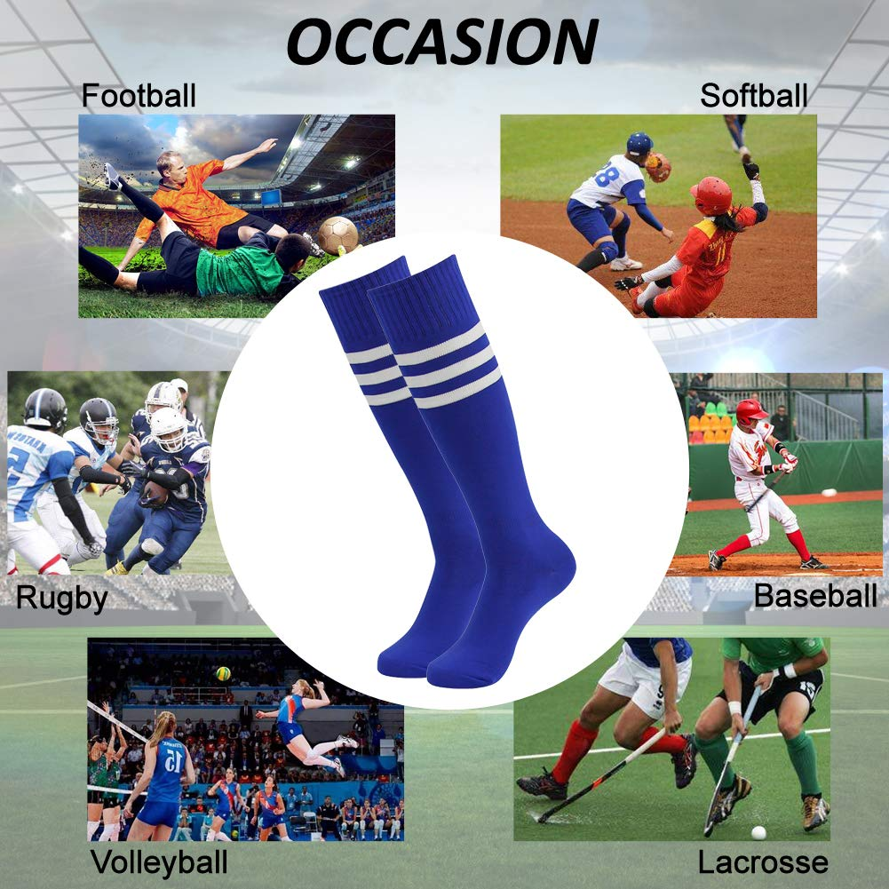 Knee High Softball Socks SUTTOS Mens Womens Over-the-Calf Soccer Football Compression Socks Blue 6 Pairs /…