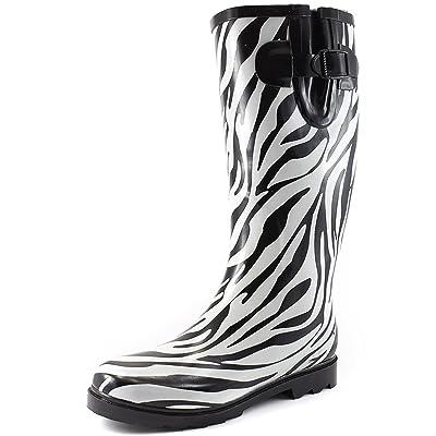 Women's Puddles Rain and Snow Boot Multi Color Mid Calf Knee High Waterproof Rainboots | Rain Footwear