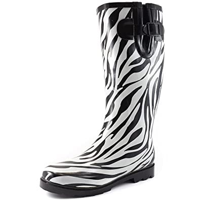 Amazon.com | Women's Puddles Rain and Snow Boot Multi Color Mid ...
