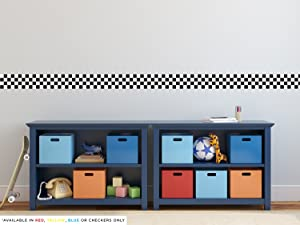 """Sunny Decals Racing Stripe Border Fabric Wall Decal, 24"""" x 5"""", Checkerboard"""