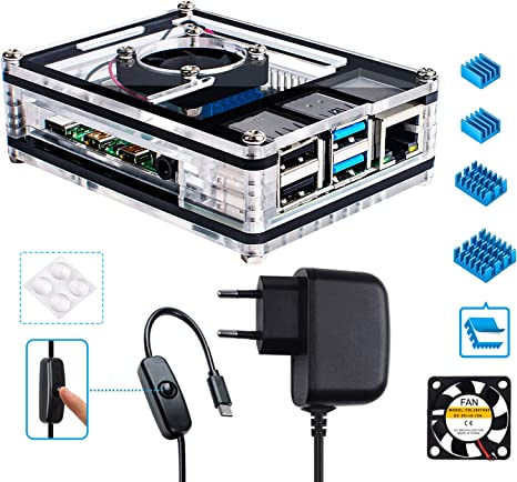 Miuzei Raspberry Pi 4 Cajas con Ventilador,3 × aluminio disipador ...
