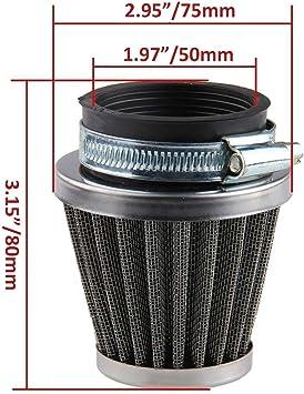 60 mm Noir Flyes Filtre /à air universel pour moto
