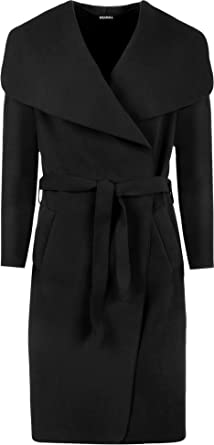 Amazon.com: WearAll Women's Long Belt Pocket Open Coat Celebrity ...