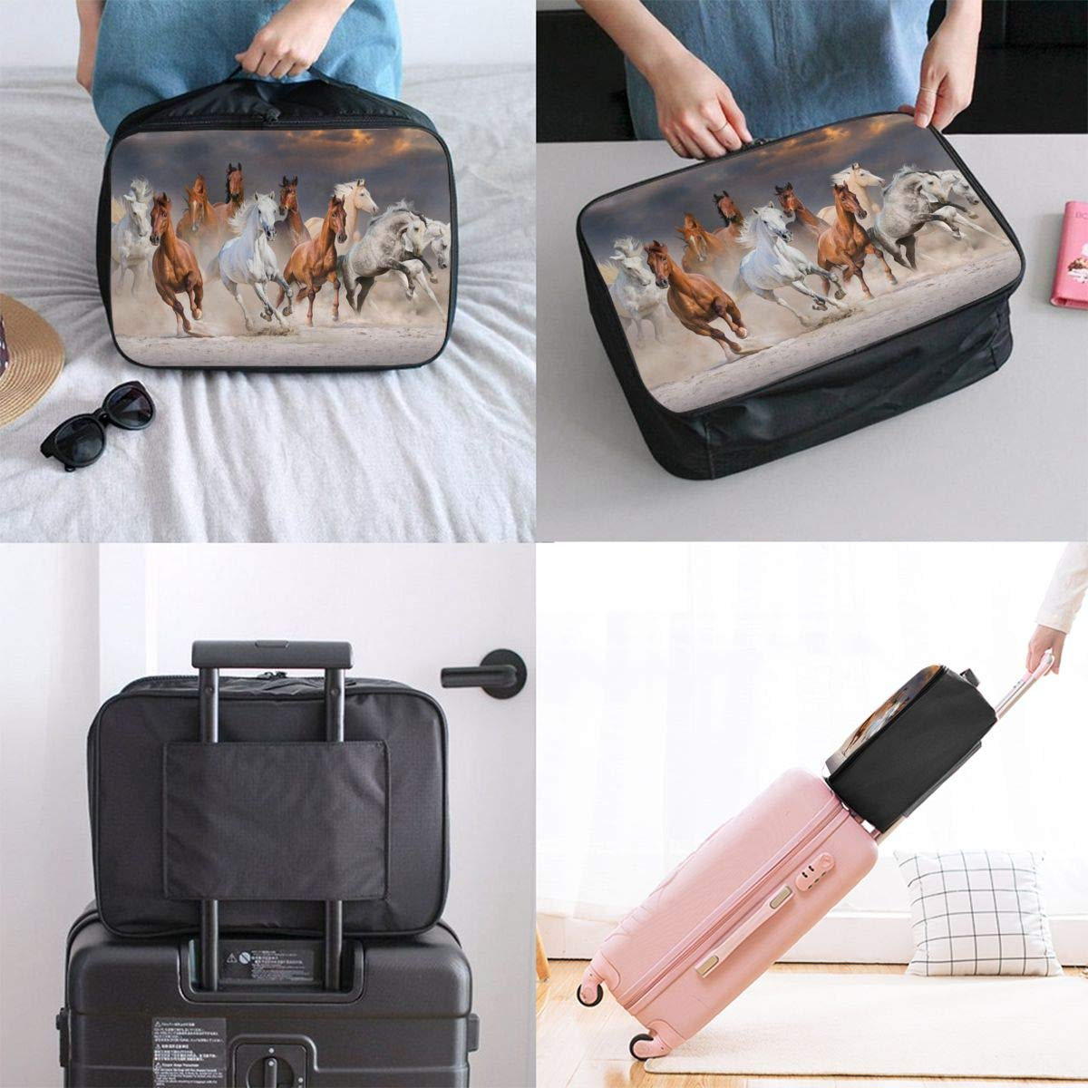 ADGAI Running Horse Canvas Travel Weekender Bag,Fashion Custom Lightweight Large Capacity Portable Luggage Bag,Suitcase Trolley Bag